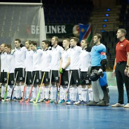 BERLIN - Indoor Hockey World Cup Men: Russia - South Africa foto: line up Russia. COPYRIGHT WILLEM VERNES