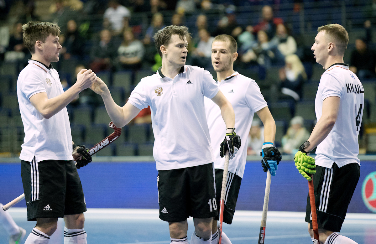BERLIN - Indoor Hockey World Cup Men: Russia - South Africa foto: GOLUBEV Pavel. COPYRIGHT WILLEM VERNES