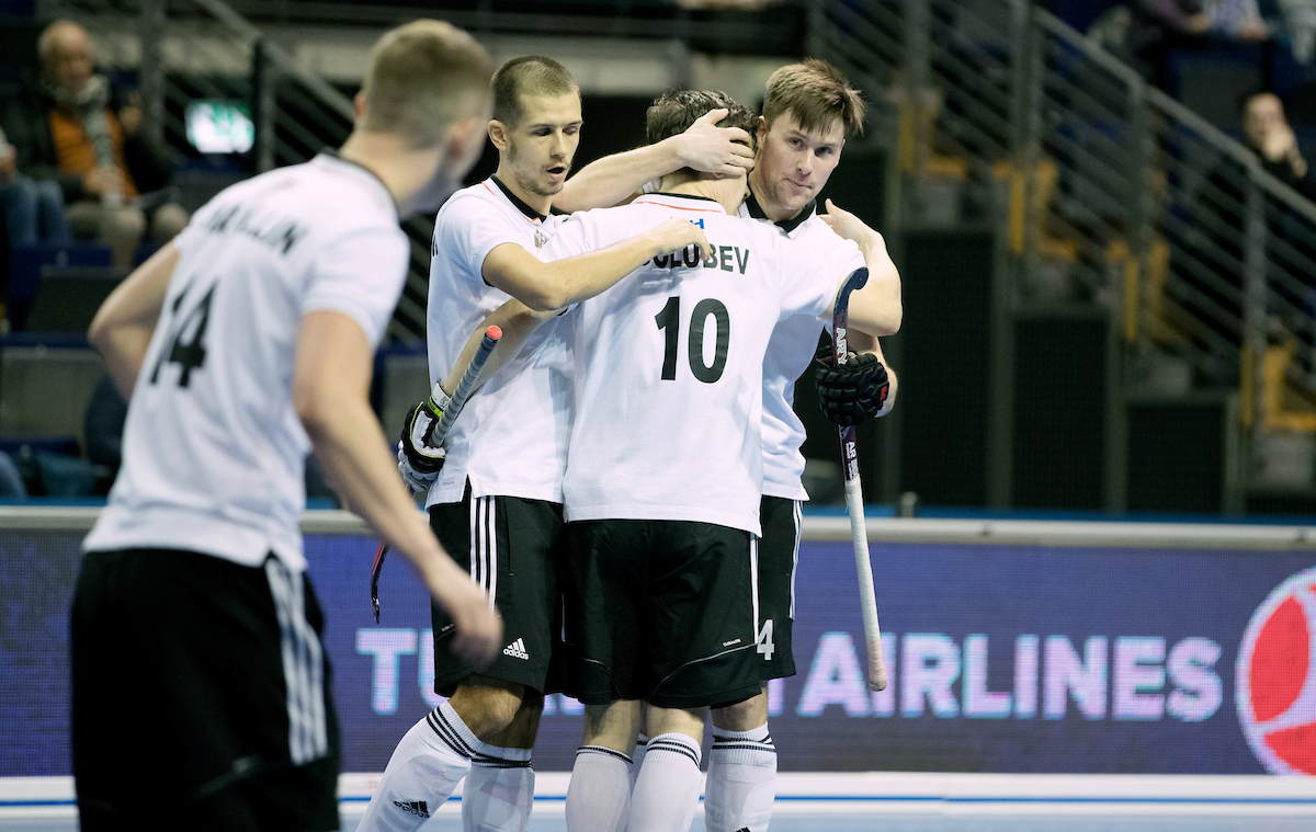 BERLIN - Indoor Hockey World Cup Men: Russia - South Africa foto: Russia celebrates. COPYRIGHT WILLEM VERNES
