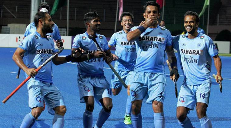 Dhaka:  Indian Men's Hockey team celebrates their birth in the final of the Hero Asia Cup 2017 with a convincing 4-0 victory over arch-rivals Pakistan in the Super 4s match in Dhaka on .Saturday.   PTI Photo  (PTI10_21_2017_000132B)