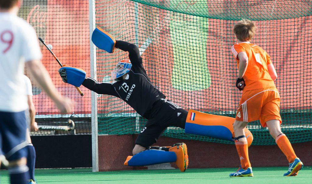 ROTTERDAM -  Hidde Brink (Neth).   Test Match Hockey : Netherlands Boys U18  v England U18 . COPYRIGHT KOEN SUYK